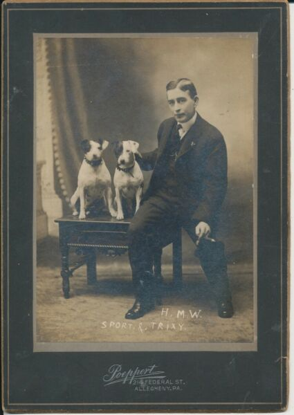 PORTRAIT OF MAN W CIGAR 2 JACK RUSSELL DOGS IN SPIKED COLLARS PITTSBURGH PA $149.99