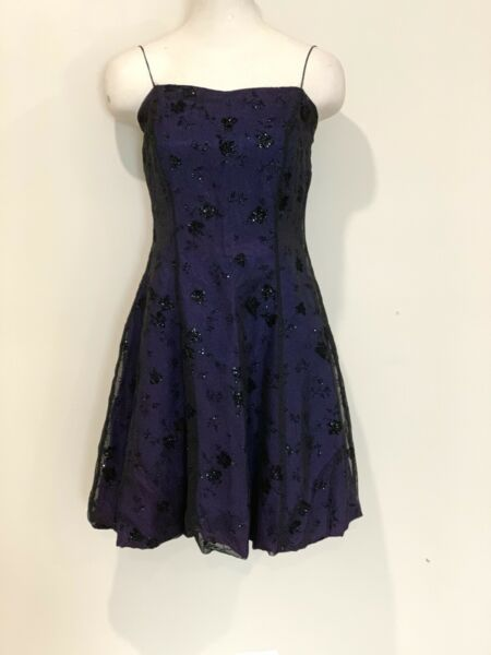 Dark Blue Purple Prom Cocktail Dress With Black Lace Overlay Size 7 8