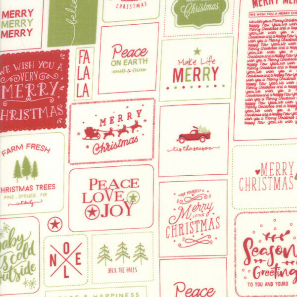 BY 1 2 YD THE CHRISTMAS CARD MODA FABRIC RED GREEN GREETINGS SWEETWATER 5770 24