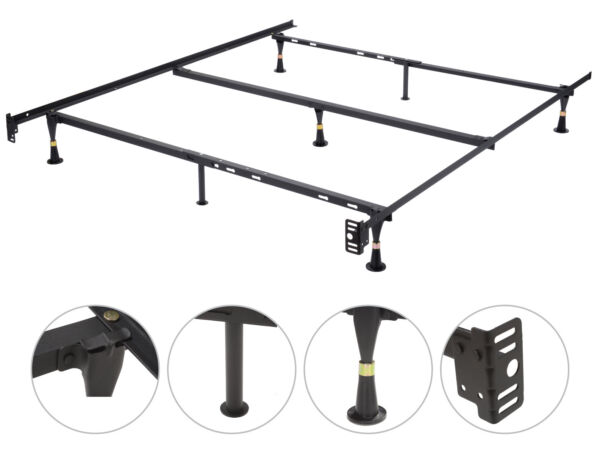 Heavy Duty Adjustable Twin, Full, Queen Bed Frame with Center Support Glide Legs