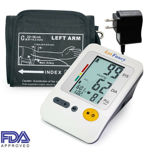 Auto Digital Arm Blood Pressure Monitor BP Cuff Adapter Gauge Meter By LotFancy