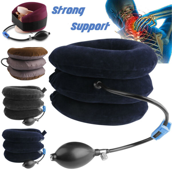 Air Inflatable Cervical Neck Traction Device Shoulder Head Pain Relief Therapy