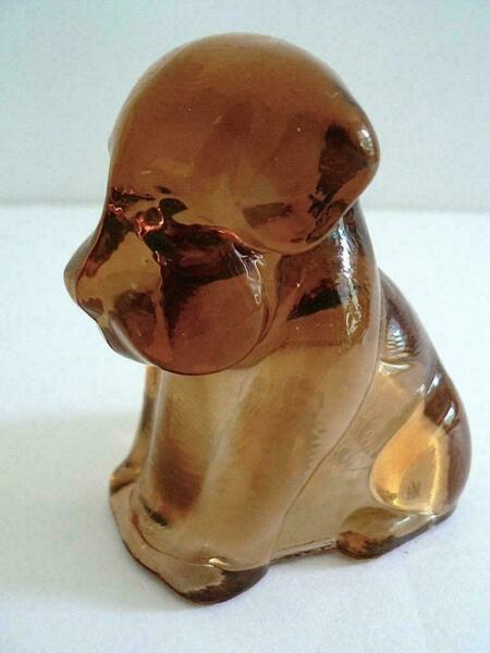 "DEGENHART 3"" GLASS POOCH DOG FIGURINE DARK ROSE MARIE HEART CLEAR last one $5.95"