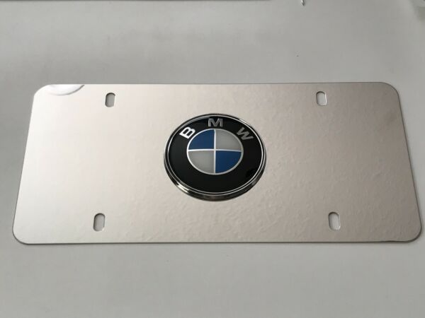 BMW 3D Chrome Logo On Chrome License Plate with 4x Chrome caps