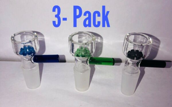 14mm Thick Glass Bowl Piece Male Slider For Bong 3 Pack Of Bowl Pieces US Seller