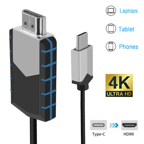 USB Type C to HDMI 4K HDTV TV Cable Adapter High Speed For Mobile Phone Computer