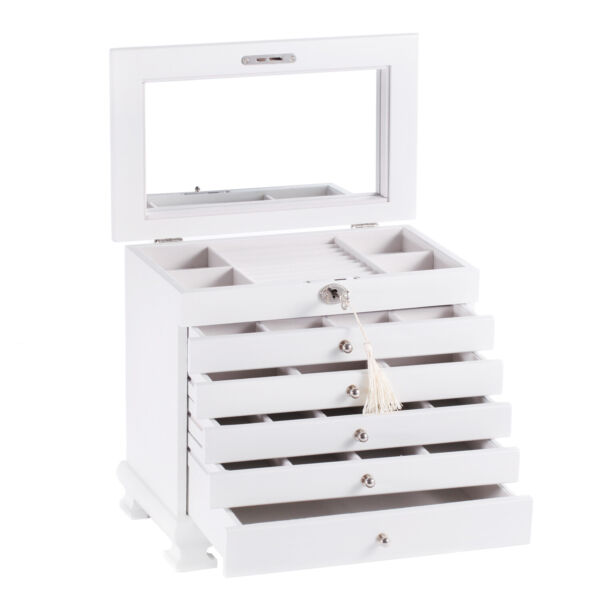 White Wood Jewelry Cabinet Vintage Armoire Box Mirror Storage Necklace Organizer