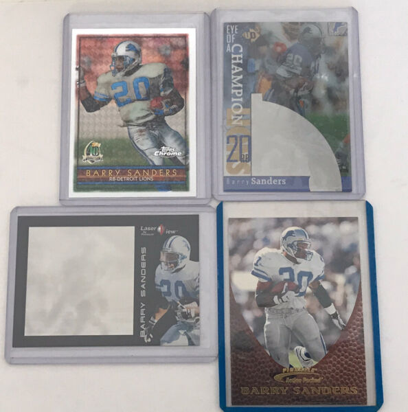1996-97 Barry Sanders Lot of (4) Insert Card Topps Chrome Pinnacle Detroit Lions