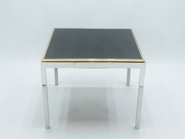 Willy Rizzo Lacquered Chrome Brass Flaminia Game Table 1970s