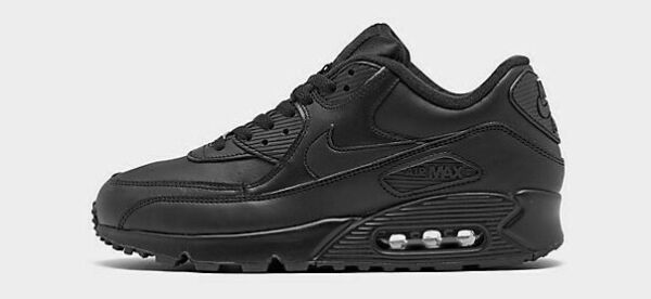 NIKE AIR MAX 90 LEATHER $120 Men's Running shoes AUTHENTIC NEW 302519 001 Black