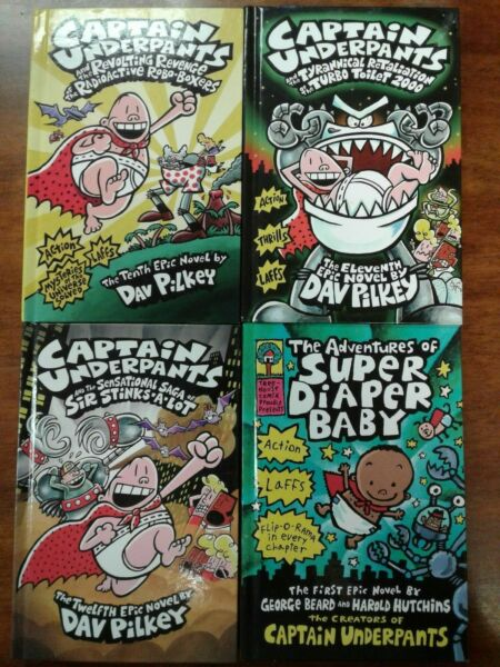 Captian Underpants Books 10-12 and The Adventures of Super Diaper Baby Book Hard