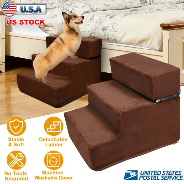 3 Steps Pet Dog Stairs Ramp Climb Ladder Light Weight Car Home Portable W Cover $41.84