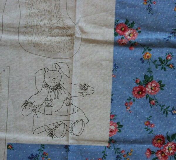 2 Cranston Print Works CLOVER COTTONTAIL Cut  Sew Fabric Panel Bunny Doll