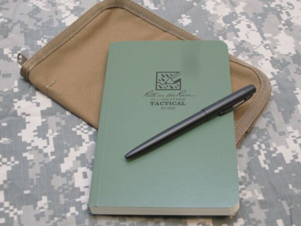 MILITARY WATERPROOF NOTEBOOK w PEN amp; COYOTE BROWN COVER ALL WEATHER NOTEPAD