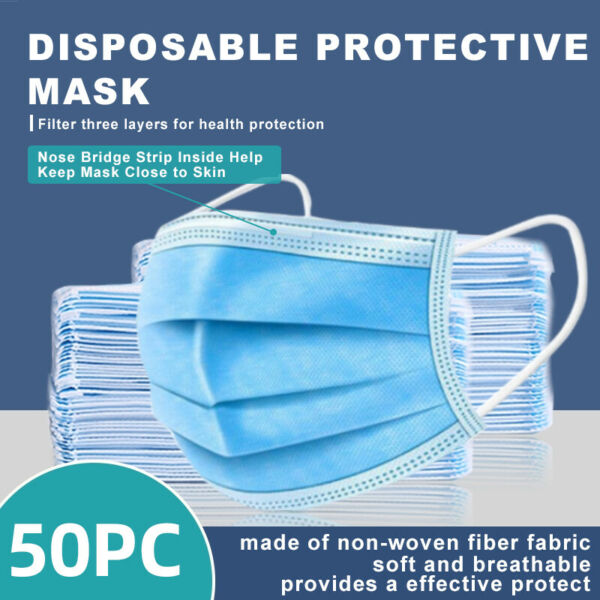 50 Pcs 3 Ply Disposable Face Mask Non Medical Surgical face MOUTH COVER $4.88