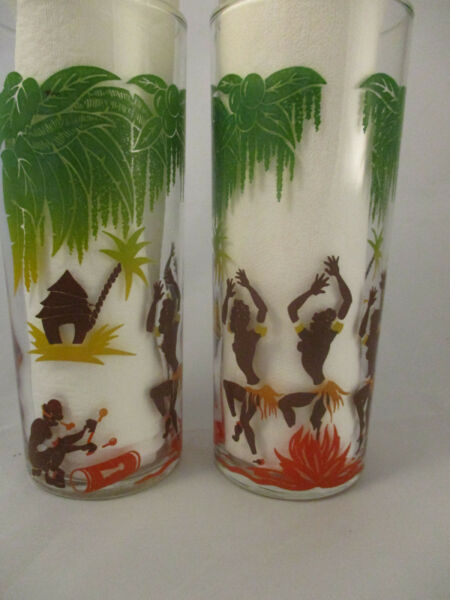 Vintage Federal Bar Glasses 1950 Figures Dancing Around Fire