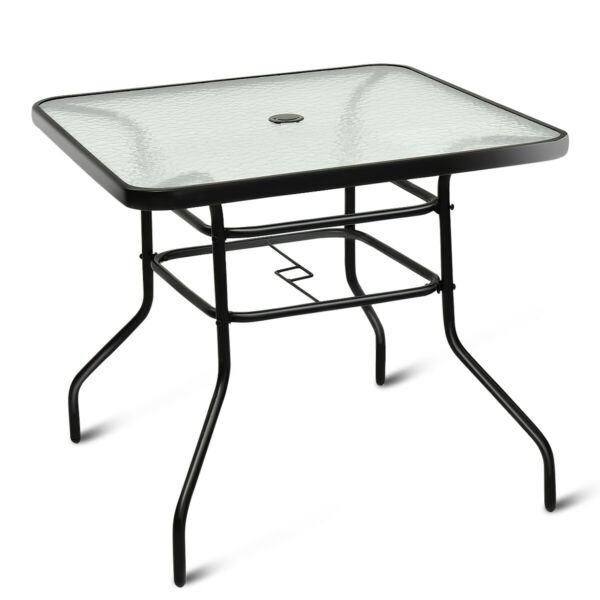 32quot; Patio Square Table Tempered Glass Steel Frame for Outdoor Pool Yard Garden $139.95