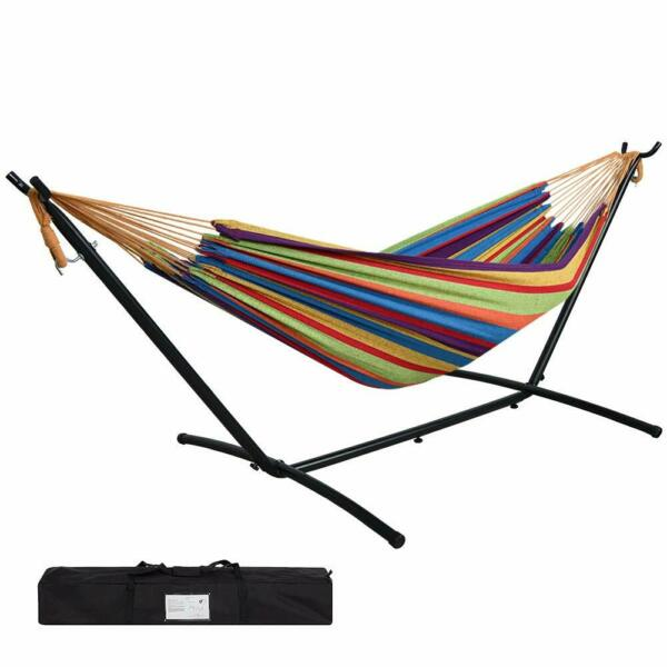 JUNELILY 9#x27; Double Hammock with Steel Hammock Stand for Indoors and Outdoors $94.97