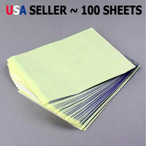 100 Sheets Tattoo Carbon Stencil Transfer Paper 8.5quot;x11quot; Master Units Sheet YW $17.49