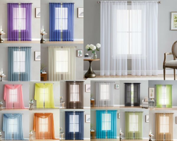 Addison Sheer Voile Window Curtain Solid Panels Rod Pocket - Set of 2
