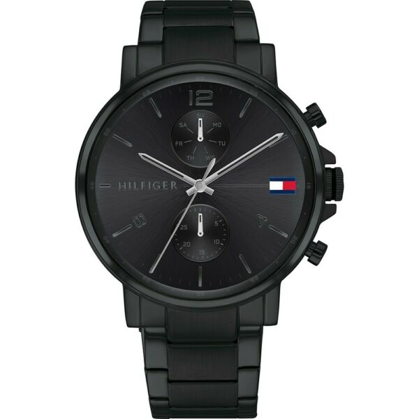 New Tommy Hilfiger Black Stainless Steel Multi Dial Men#x27; S Latest Watch 1710414