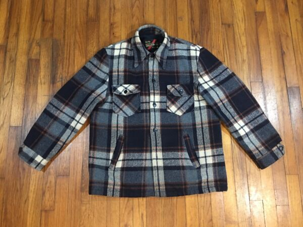 Vintage SEARS The Mens Store Outerwear Wool Plaid Work Coat Jacket Size 44 Tall