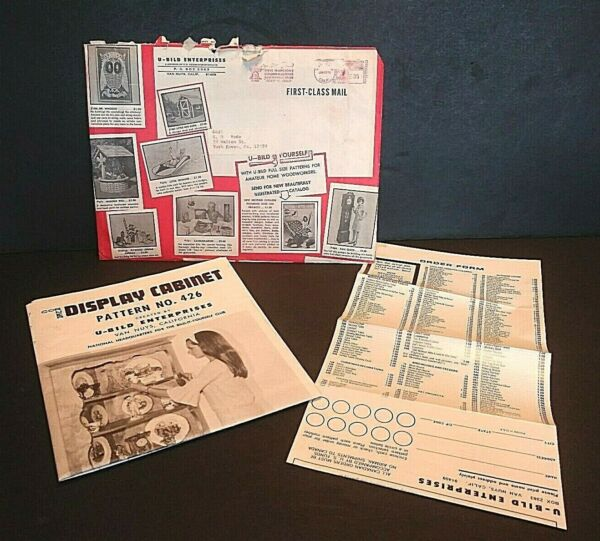 VTG U BILD Display Cabinet Pattern 426 Woodworking Mailing Envelope amp; Order Form