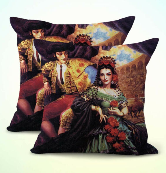 set of 2 patio furniture cushion covers Mexican Art Jesus Helguera $21.95