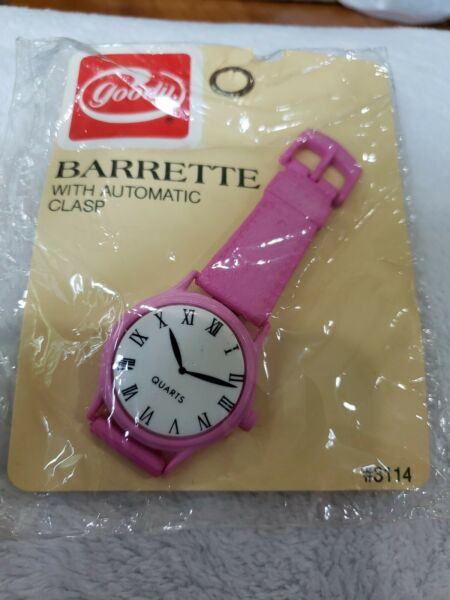 1987 Goody Barrette Watch face Automatic Clasp PINK Self adjusting THICK HAIR  $7.99