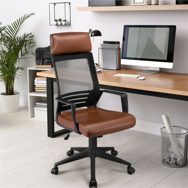 Mesh Office Chair with Leather Seat Ergonomic Adjustable Computer Chair