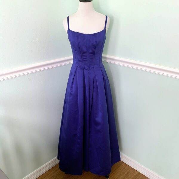 Gunne sax Vintage Corset Evening Gown Dress W Pockets XS Royal blue
