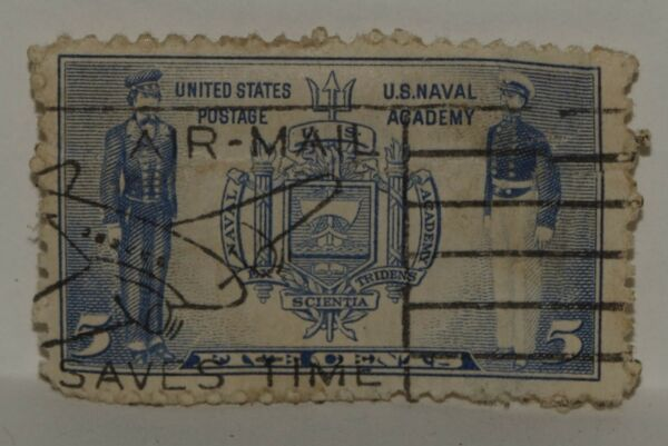 VINTAGE STAMPS AMERICA AMERICAN USA 5 C CENT NAVY NAVAL ACADEMY X1 B36