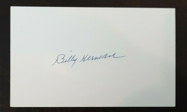 Billy Herman Autographed Signed Index Card Chicago Cubs Brooklyn Dodgers