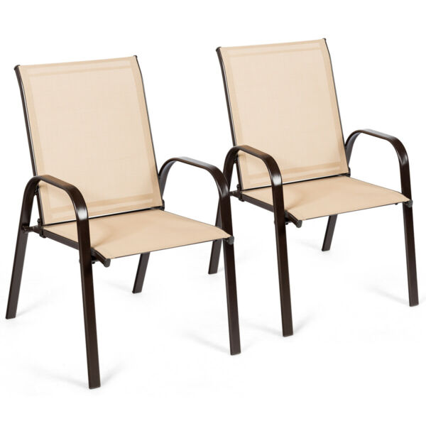 2PCS Patio Chairs Outdoor Dining Chairs with Armrest for Porch Backyard Beige $99.79