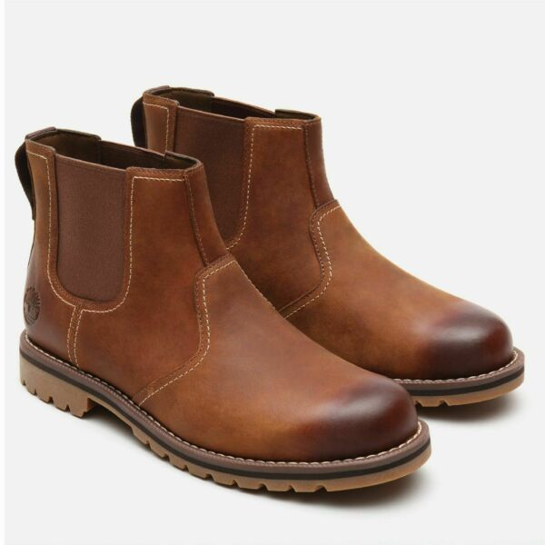 Timberland Men#x27;s Larchmont Brown Chelsea waterproof leather Boots A13HZ $149.95