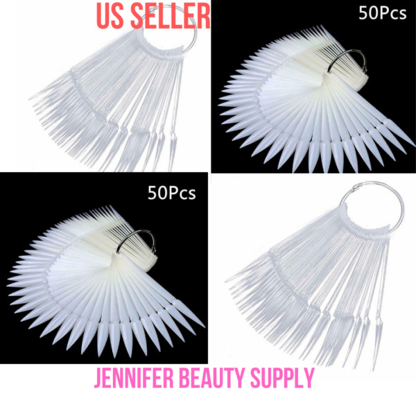 50 PCS STILETTO NAIL SWATCH STICK NAIL COLOR DISPLAY TIP TRANSPARENT OR NATURAL $5.99