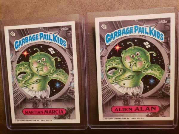 1987 Garbage Pail Kid Cards #283ab  Martian MARCIAAlien ALAN~ MINTAUTH CARDS