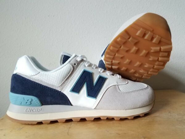 New Balance Men's 574 White Navy & Blue Casual Trainers Shoes ML574SOU - Size 8