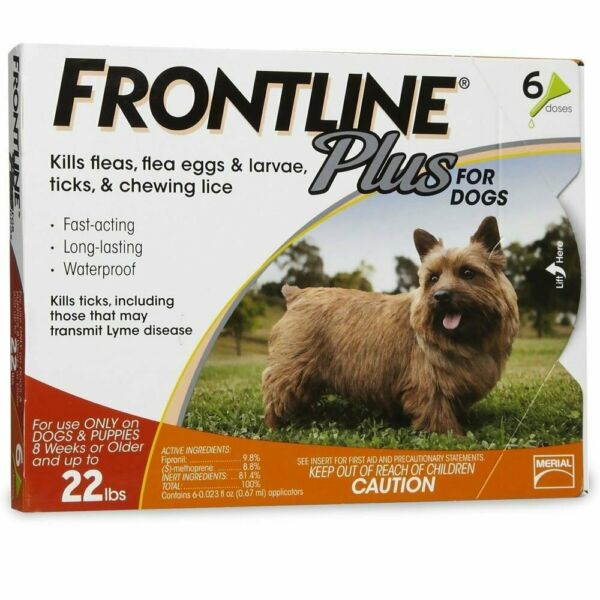 Merial Frontline Plus Flea and Tick Control for 5-22 Pound Dogs 6 pack $54.99
