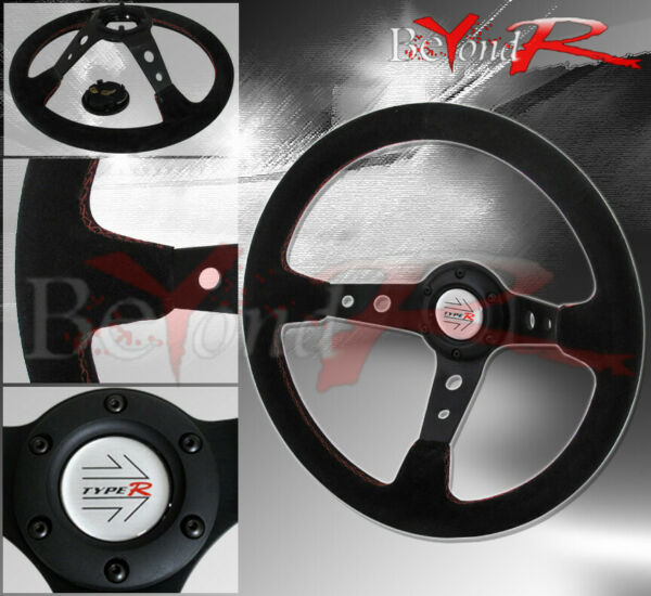 350mm Deep Dish Suede Leather Red Stitch Circle Design Steering Wheel 6Bolt Hole