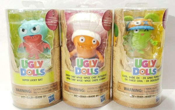 3 New Mini Ugly Dolls Surprise Tube Lot 3 of 6 To Collect Chef Lucky Bat Dude Ox