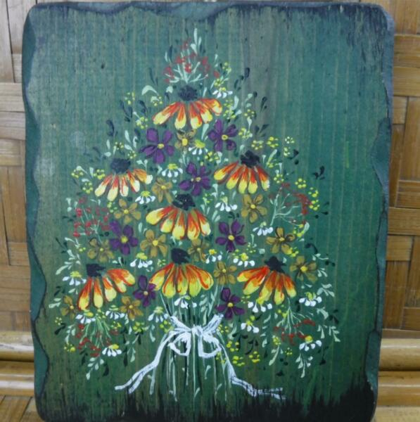 Flower Bouquet Painting Black Eyed Susans Daisies Violets Green Background