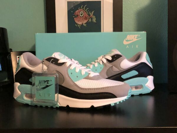 Nike Air Max 90 White Hyper Turquoise Mens CD0881 100 SIZE 8 New/DS