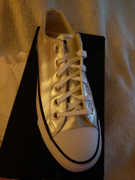 Converse Chuck Taylor All Star Womens Size 8.5 Shoes Lift Ox Silver 560248C