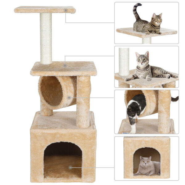 36 Inch Cat Tree For Rest Sleep Tower Activity Center Large Playing House Condo