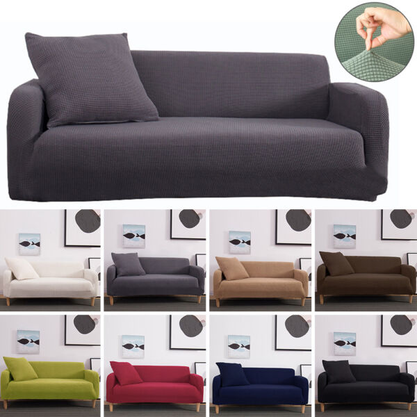 1 2 3 4 Seater High Elastic Sofa Slipcover Stretch Fleece Couch Furniture Covers $18.99