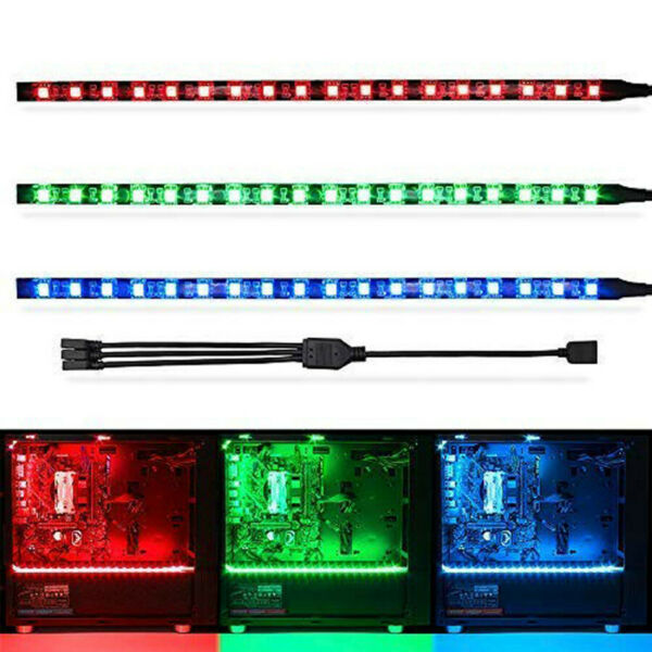 3pcs 50cm 5050 SMD RGB Gaming LED Flexible Strip 3in 1 4pin Header For PC Case