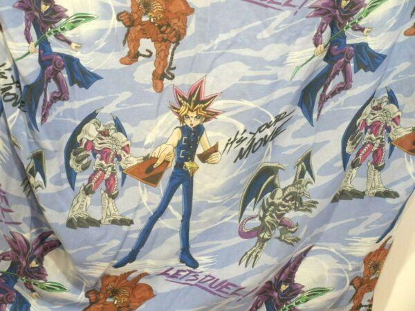 Yu-Gi-Oh! Twin Fitted Sheet Fabric Material Vtg 1996 Franco Red Blue Its your mo