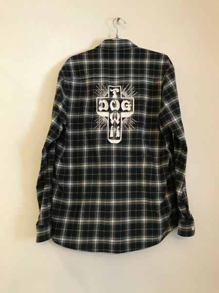 ADAPTATION X Dog Town Embroidered Cross Button Up Plaid Flannel M $115.00