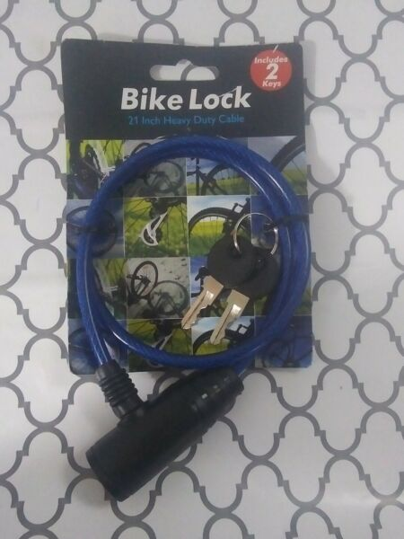 Lot of 4 Bicycle Locks 21 inch Heavy Duty Cable w 2 key s . Blue. $23.99